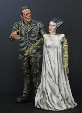 Karloff Frankenstein & Bride - Painted Model Figure Set