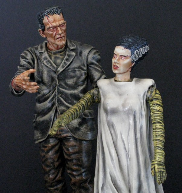 KARLOFF FRANKENSTEIN & BRIDE - PAINTED MODEL FIGURE SET - 2