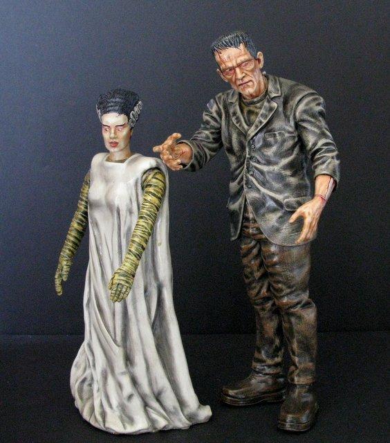 KARLOFF FRANKENSTEIN & BRIDE - PAINTED MODEL FIGURE SET - 5