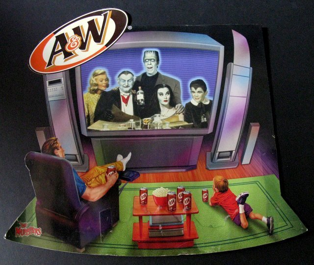 THE MUNSTERS - A&W ROOT BEER COLORFUL STORE DISPLAY