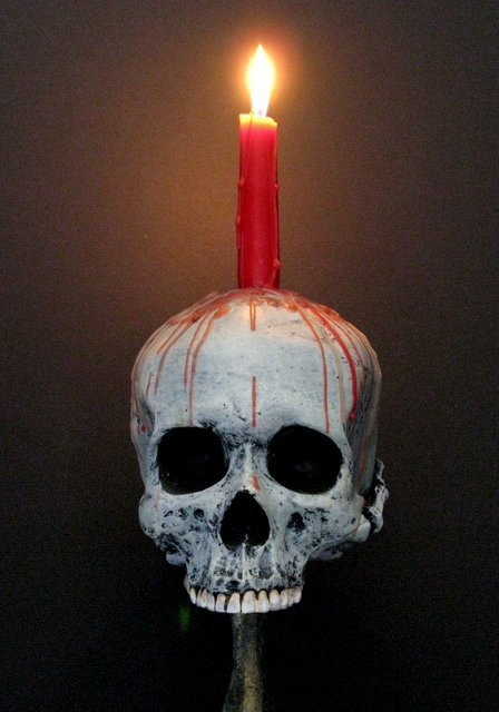 LIFE SIZE SKULL & BONEY HAND CANDLE HOLDER - From The