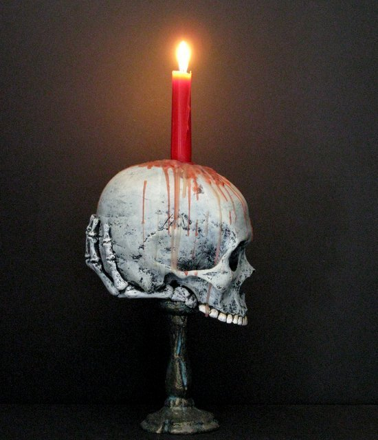 LIFE SIZE SKULL & BONEY HAND CANDLE HOLDER - From The - 3