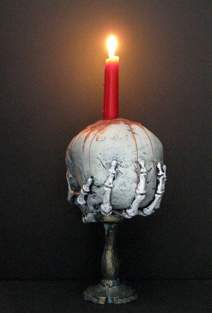 LIFE SIZE SKULL & BONEY HAND CANDLE HOLDER - From The - 4