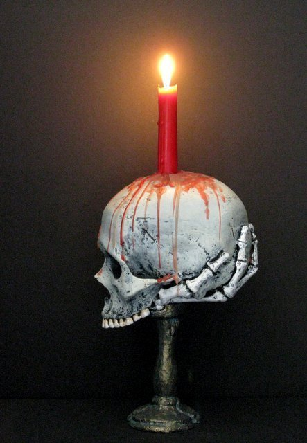 LIFE SIZE SKULL & BONEY HAND CANDLE HOLDER - From The - 5