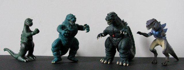 GODZILLA TOY FIGURE LOT OF FOUR - Left to right: 4""