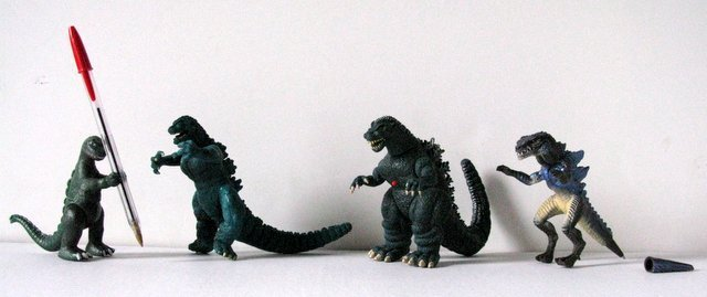 "GODZILLA TOY FIGURE LOT OF FOUR - Left to right: 4"" - 3"
