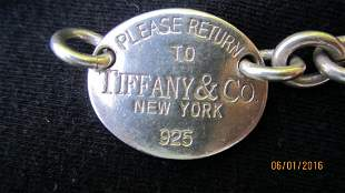 16 IN. TIFFANY & CO. STERLING VINTAGE CHOKER - SIGNED
