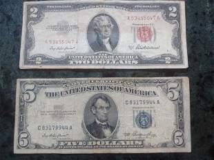 953 BLUE SEAL $5 BILL - 1953 RED SEAL $2 BILL -