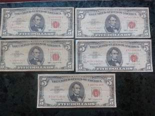 5 - 1963 $5 BILL IN RED SEAL