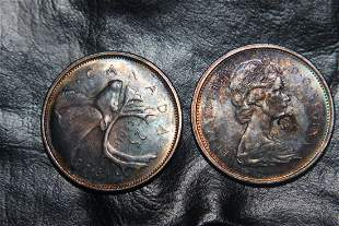 (2) 1965 CANADA QUARTERS - ONE SIDE COMPLETELY TONED -