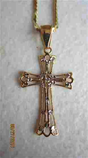 """NICE 14K GOLD 18"""" NECKLACE W/ CROSS PENDANT - EXC. COND"""