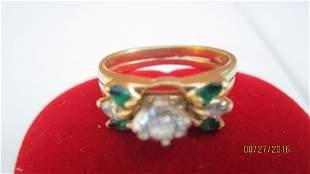 GREAT 14K DOUBLE WIDE RING W/ 30 PT CENTER DIAMOND - W/