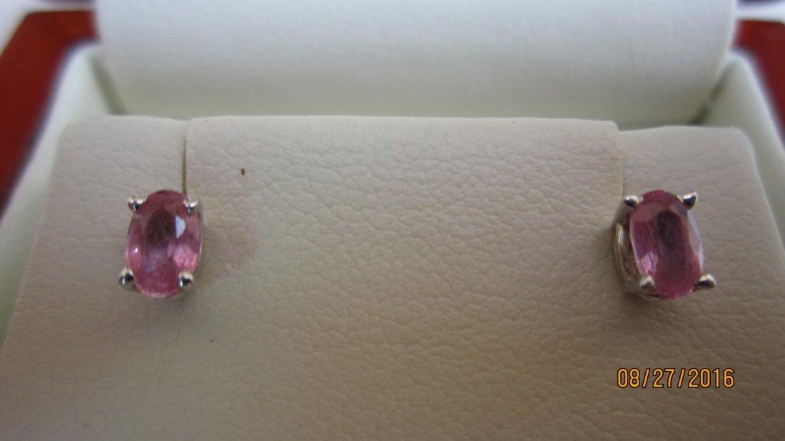 VERY UNUSUAL GOLD EARRINGS W/ OVAL CUT PINK DIAMONDS-