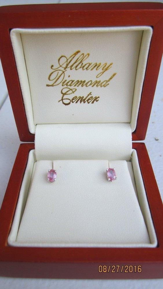 VERY UNUSUAL GOLD EARRINGS W/ OVAL CUT PINK DIAMONDS- - 3