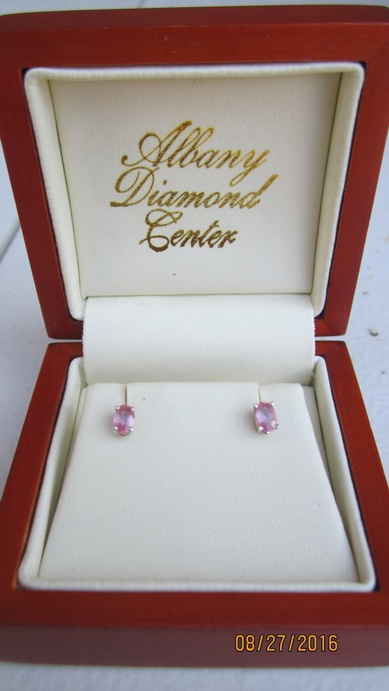 VERY UNUSUAL GOLD EARRINGS W/ OVAL CUT PINK DIAMONDS- - 3
