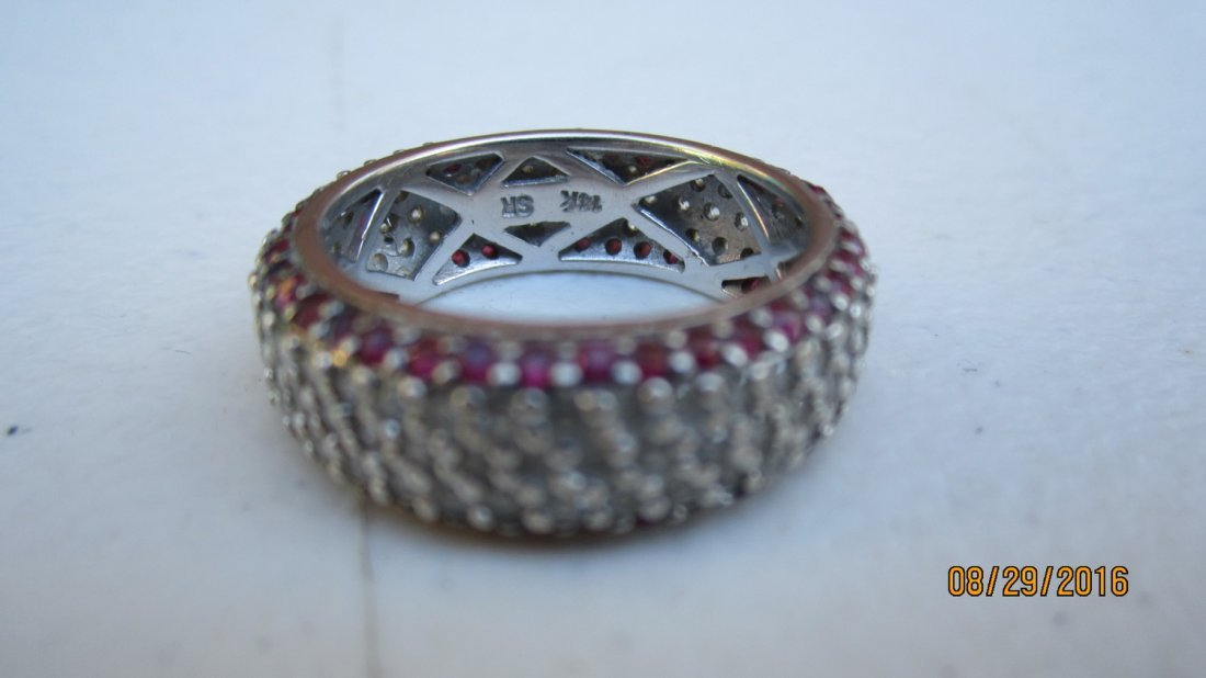 OUTSTANDING 14K GOLD BAND W/ OVER 80 RUBIES & OVER 100