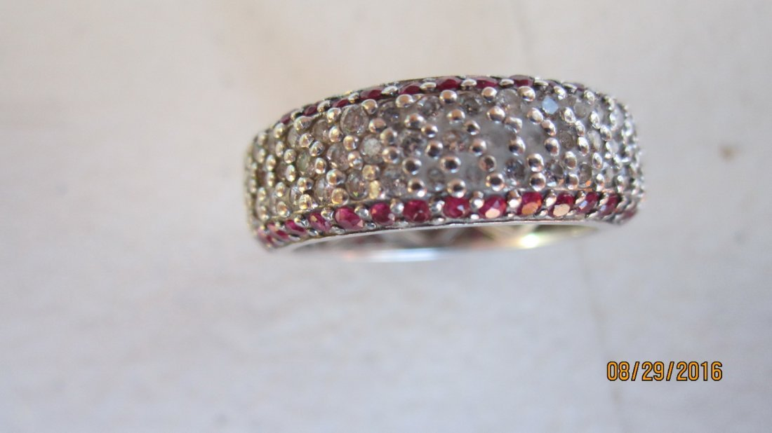 OUTSTANDING 14K GOLD BAND W/ OVER 80 RUBIES & OVER 100 - 3