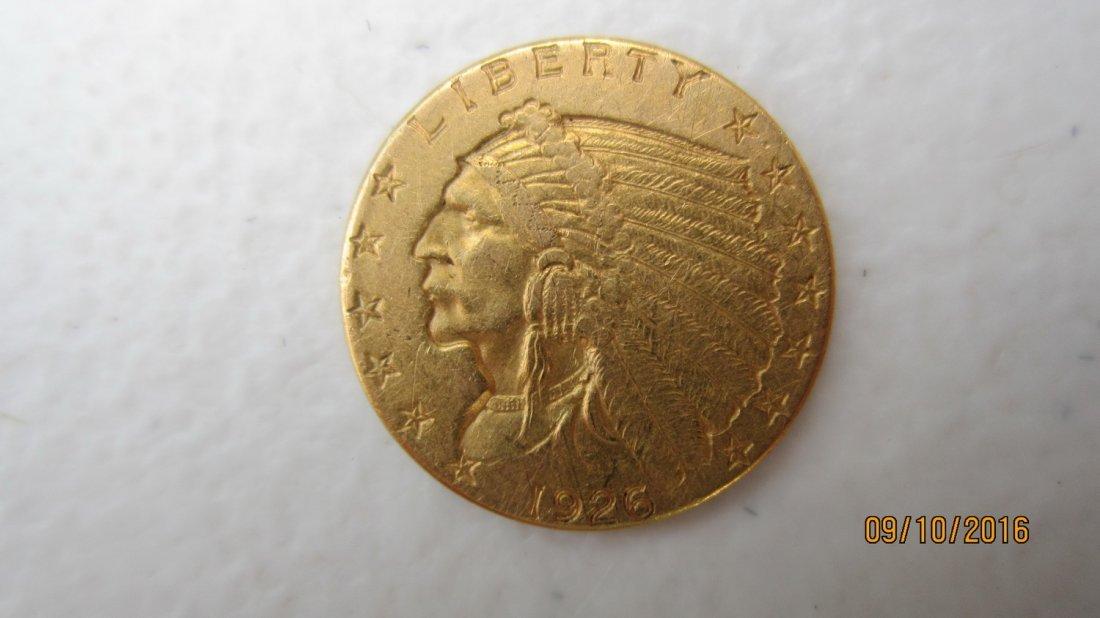 NICE 1926 $2.50 U.S. GOLD INDIAN COIN - VERY MINOR WEAR