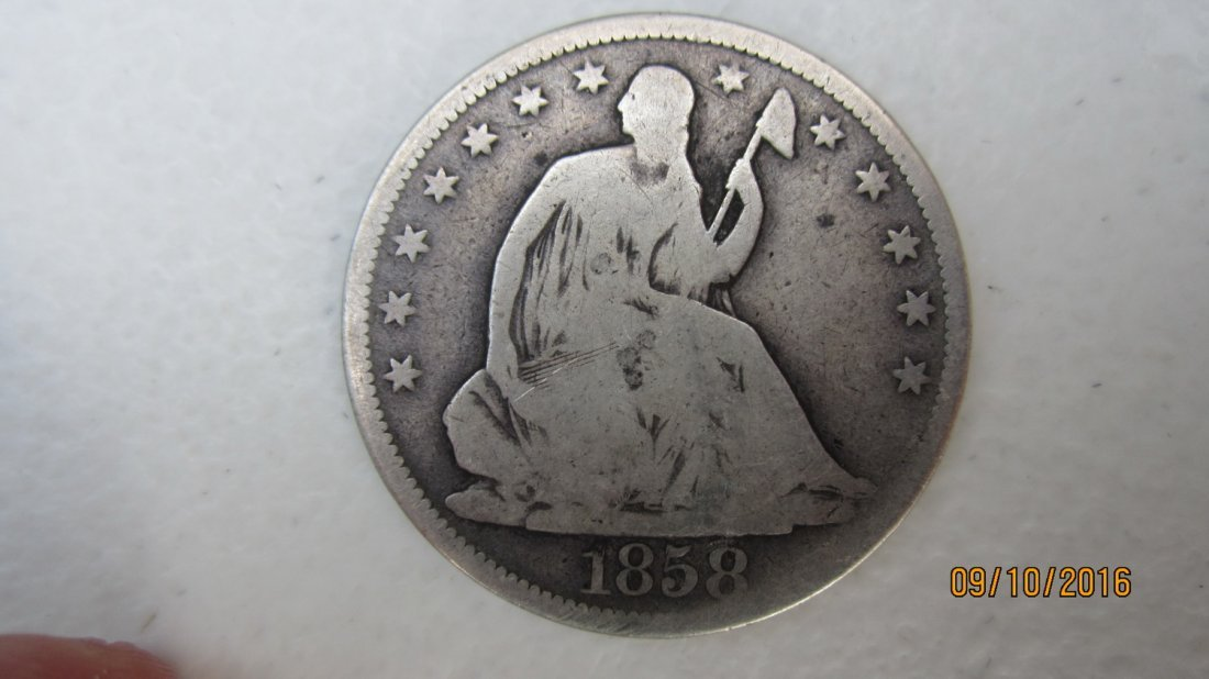 U.S. 1858 SILVER SEATED LIBERTY HALF DOLLAR