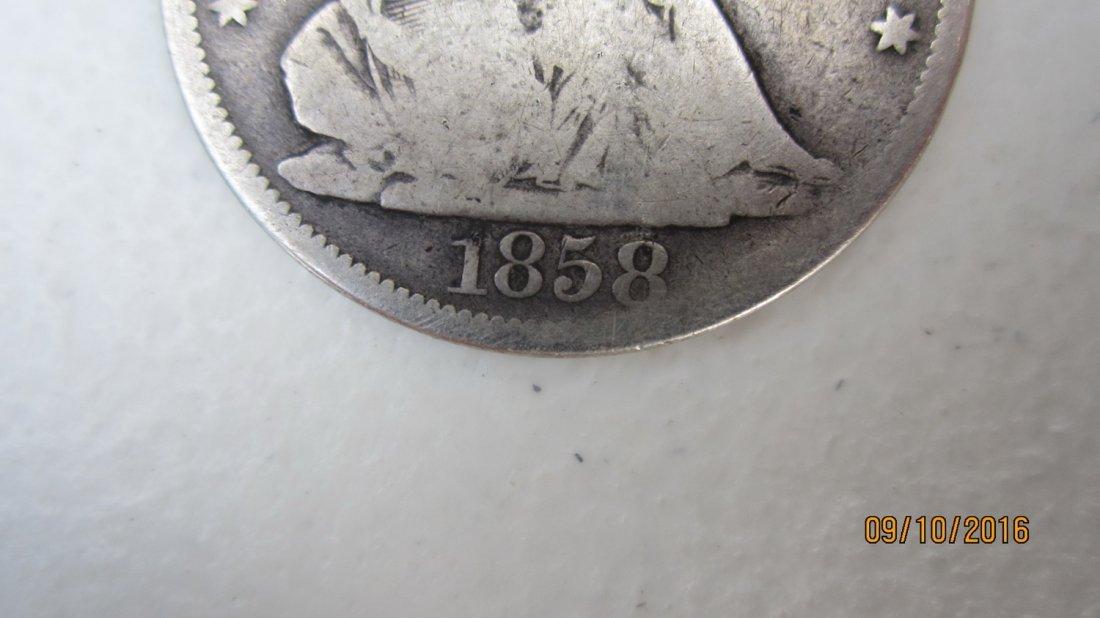 U.S. 1858 SILVER SEATED LIBERTY HALF DOLLAR - 3
