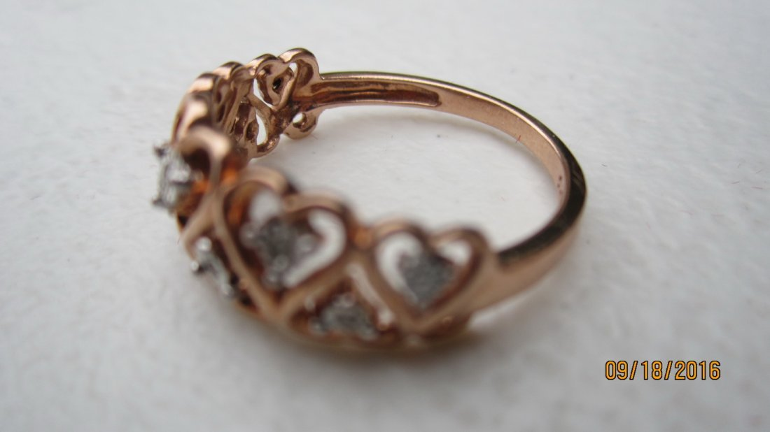 10K ROSE GOLD OPEN HEART RING W 7 DIAMONDS  - EXC. COND - 2