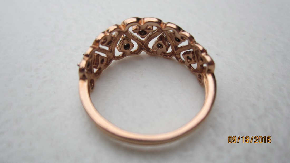 10K ROSE GOLD OPEN HEART RING W 7 DIAMONDS  - EXC. COND - 3