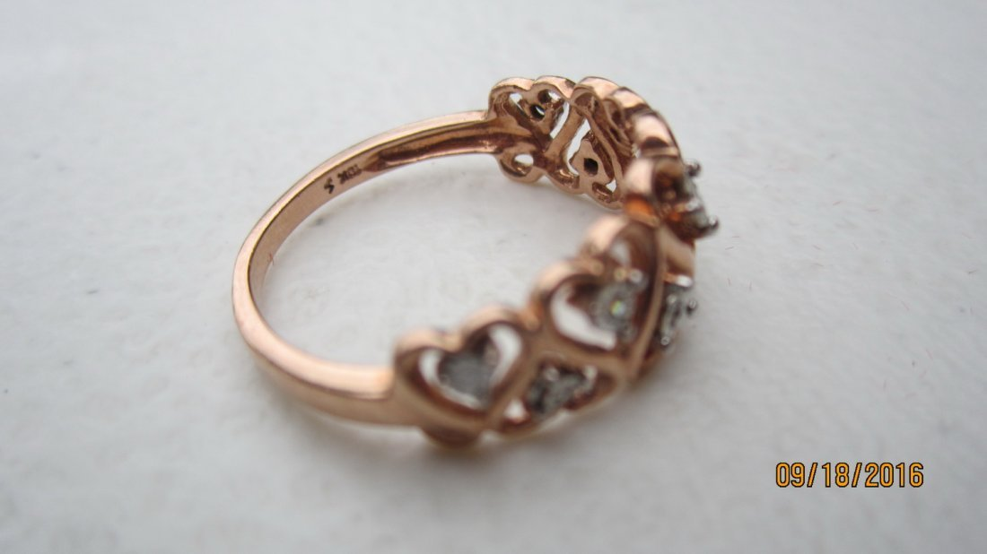 10K ROSE GOLD OPEN HEART RING W 7 DIAMONDS  - EXC. COND - 4
