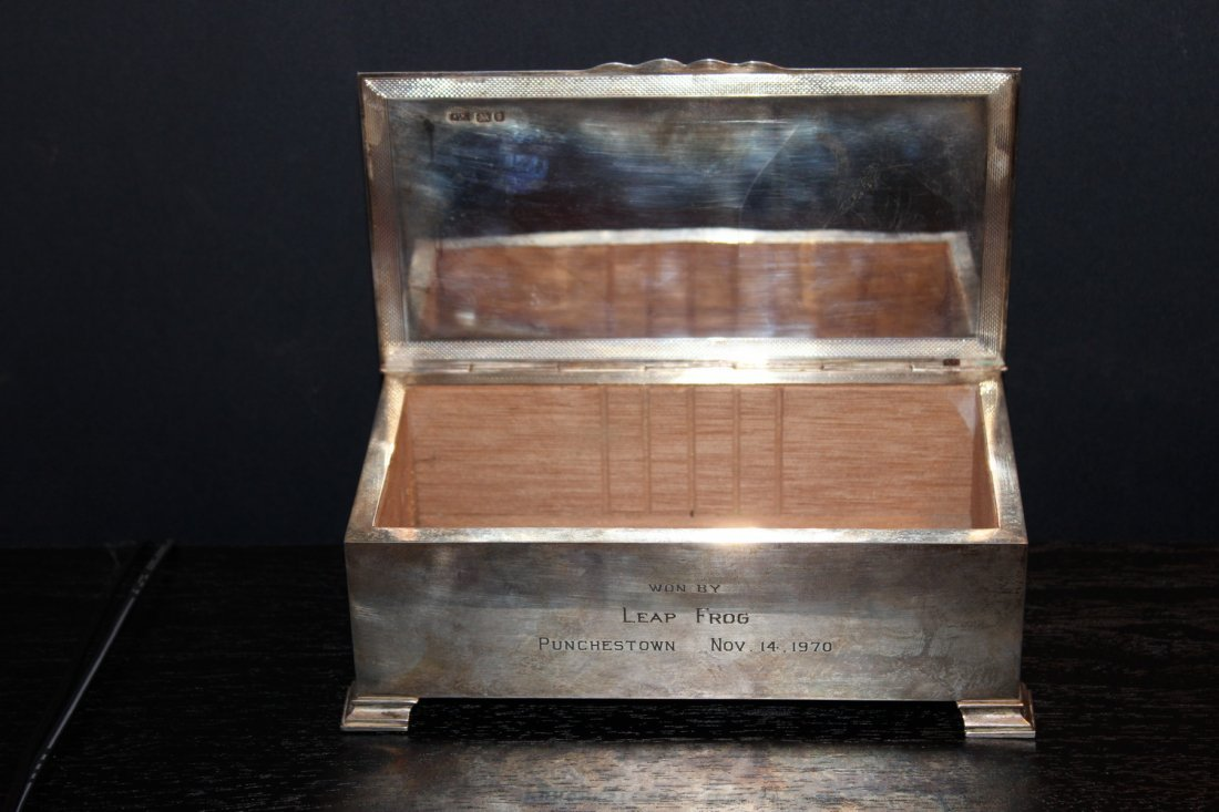 EARLY ENGLISH HALL MARKED STERLING SILVER BOX - WOOD - 8