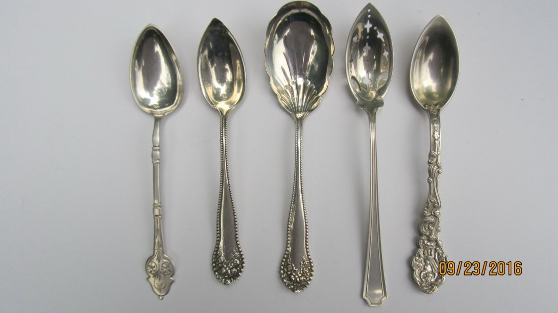LOT OF 5 UNUSUAL STERLING SERVING SPOONS 3.5 OZT.  - - 2