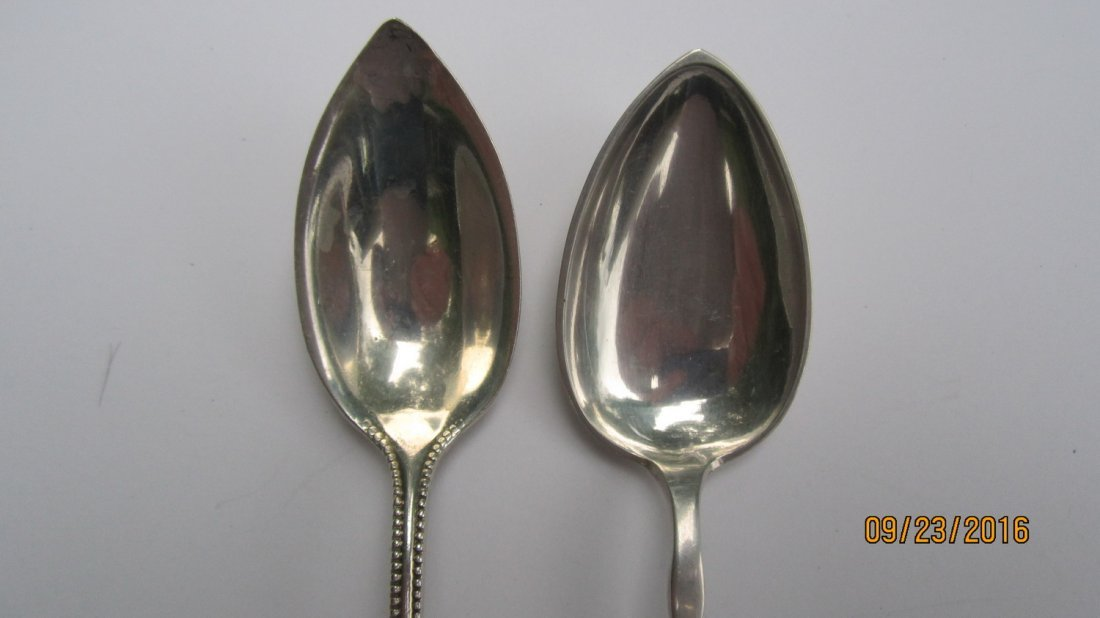 LOT OF 5 UNUSUAL STERLING SERVING SPOONS 3.5 OZT.  - - 3