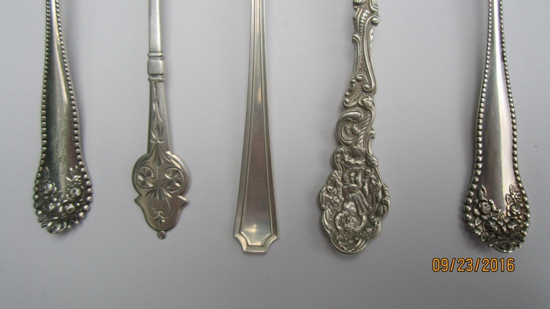 LOT OF 5 UNUSUAL STERLING SERVING SPOONS 3.5 OZT.  - - 6