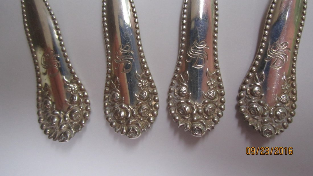 4 ORNATE GOLD WASH STERLING SPOONS 2.4 OZT. - 3