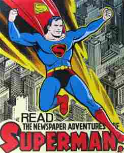 VINTAGE SUPERMAN TIN SIGN – Kitchen Sink Press, 1998 –