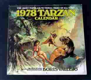 TARZAN - BORIS VALLEJO ART CALENDAR 1978 - This deluxe