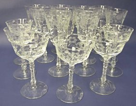 Antique Etched Crystal Stemware