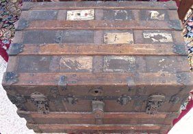 Antique Wooden Steamer Trunk, Railway Express Agency