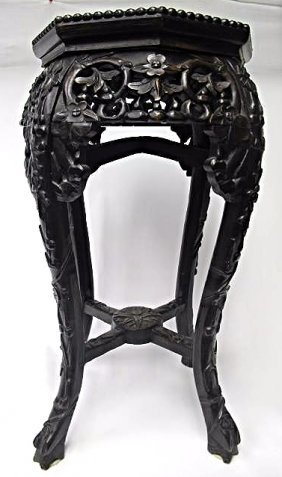 """Antique Chinese Carved Marble Top Stand, 24"""" x 12"""""""