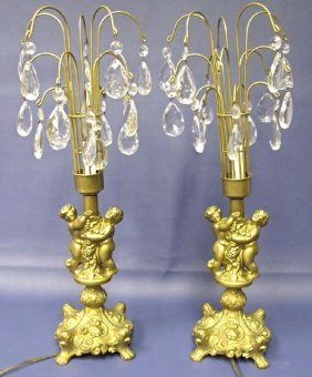 Pair of Gold Gilt Cherub Lamps with Prisms, Electrified