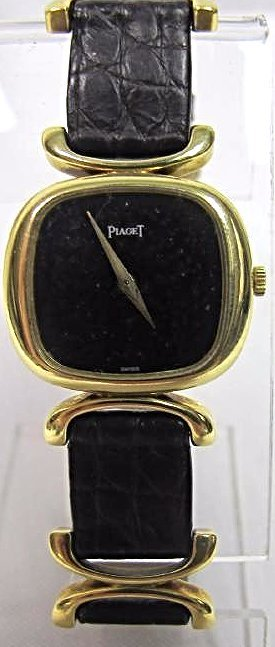 Ladies 18K Piaget Wrist Watch, Black Leather Strap