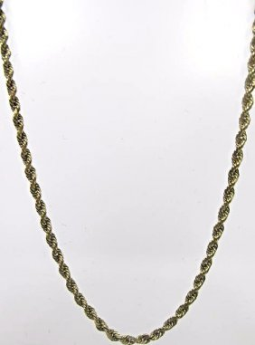 Ladies 14K Yellow Gold Rope Chain, 5.22dwt, 17""