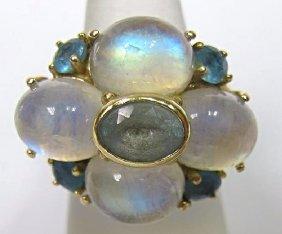 14K Yellow Gold Bvlgari Style Multi Stone Ring, 9.05dwt