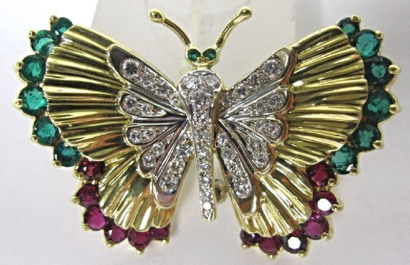 18K Yellow Gold & White Gold Emerald, Ruby, Dia Brooch