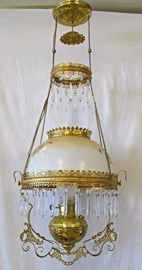 Victorian Brass Hanging Parlor Chandelier