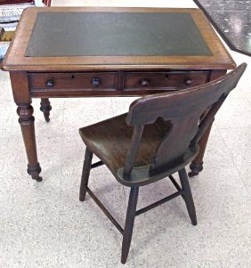 Leather Top Pedestal Desk with Chair