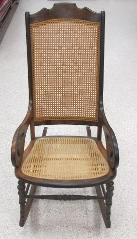 Victorian Rocking Chair, Caining in Excellent Condition
