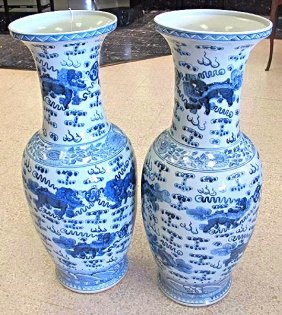 "Pair Asian Blue & White Porcelain Vases, 37 1/2"" tall"