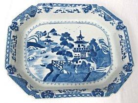 Asian Blue & White Porcelain Rectangular Plate/Bowl,
