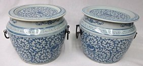 """Pair Asian Blue & White Porcelain Vases, 7"""" tall"""