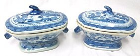 Pair Asian Blue & White Porcelain Covered Dishes/Bowls,