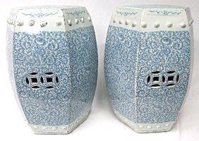 """Pair Asian Blue & White Porcelain Garden Stools, 20"""""""